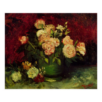 Van Gogh Bowl with Peonies and Roses Posters
