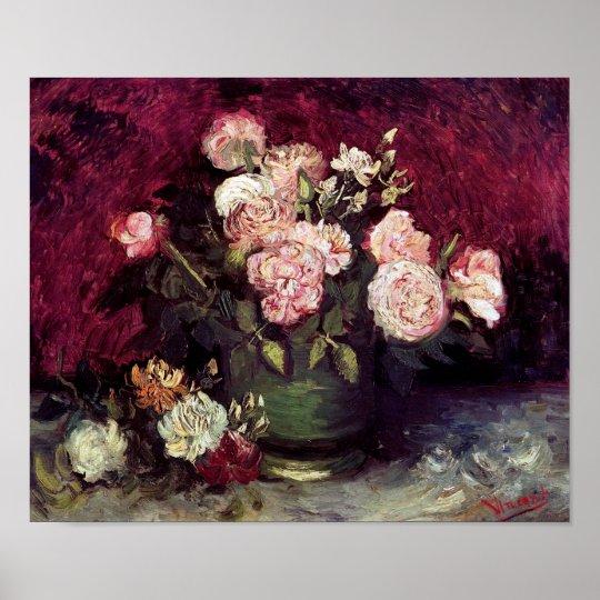 Van Gogh Bowl with Peonies & Roses Poster