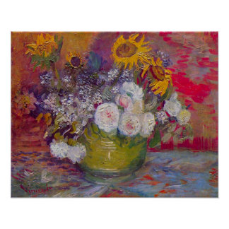 Van Gogh Bowl with Sunflowers, Roses and Flowers Poster