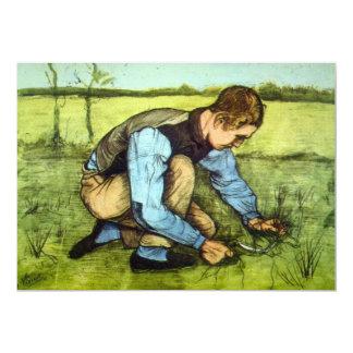 Van Gogh Boy Cutting Grass with Sickle Vintage Art Card