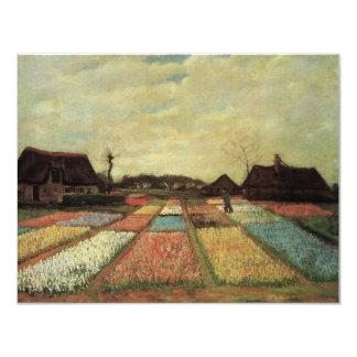 "Van Gogh Bulb Fields, Vintage Flowers on Landscape 4.25"" X 5.5"" Invitation Card"