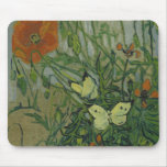 Van Gogh butterflies and poppies Mouse Pad