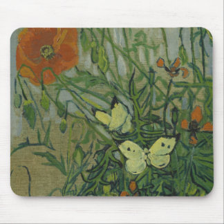 Van Gogh butterflies and poppies Mouse Pads