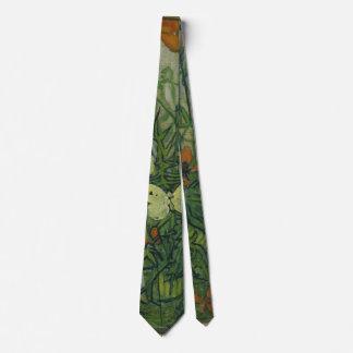 Van Gogh Butterflies and Poppies, Vintage Fine Art Neck Tie