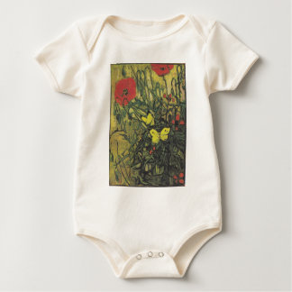 Van Gogh Butterfly Poppies Flowers Peace Destiny Baby Bodysuit