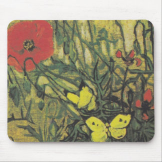 Van Gogh Butterfly Poppies Flowers Peace Destiny Mouse Pad