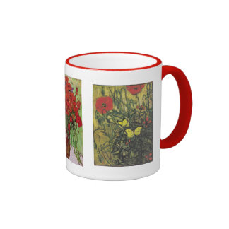Van Gogh Butterfly Poppies Flowers Peace Destiny Ringer Coffee Mug