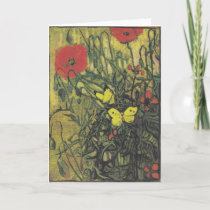 Van Gogh Butterfly Poppies Flowers Peace Destiny Thank You Card