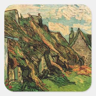 Van Gogh; Cabañas cubiertas con paja de la piedra Calcomanías Cuadradass