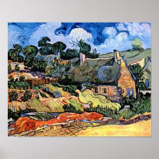 Van Gogh - cabañas cubiertas con paja en Cordevill Impresiones