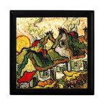 Van Gogh: Cabañas cubiertas con paja en la sol Caja De Recuerdo