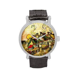 Van Gogh - cabañas cubiertas con paja en la sol Reloj De Mano