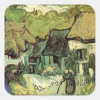 Van Gogh; Cabañas cubiertas con paja Jorgus, casas Calcomania Cuadradas Personalizada