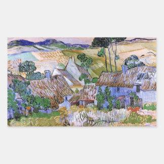Van Gogh; Cabañas cubiertas con paja por una Rectangular Pegatina