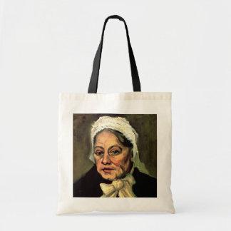 Van Gogh, cabeza de la mujer mayor, casquillo blan Bolsa