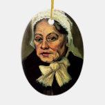 Van Gogh, cabeza de la mujer mayor, casquillo blan Ornamento Para Arbol De Navidad