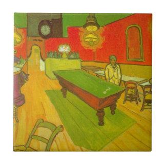 Van Gogh; Café de la noche, arte del impresionismo Azulejo Cuadrado Pequeño