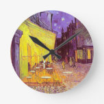 Van Gogh Cafe Impressionist Painting Round Wall Clock