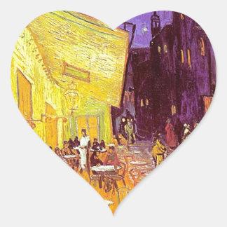 Van Gogh Cafe Impressionist Painting Heart Sticker