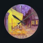 "Van Gogh Cafe Impressionist Painting Round Clock<br><div class=""desc"">Vincent Van Gogh impressionist painting. Van Gogh Cafe terrace at night painting.Post impressionism van gogh image, van gogh artwork, van gogh artist van gogh paintings vintage artwork impressionistic popular affordable best selling holiday gift idea.Personalize with your own words, monogram, initials, poem verse.Great for holiday gifts, birthday presents and more all...</div>"
