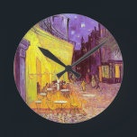 """Van Gogh Cafe Impressionist Painting Round Clock<br><div class=""""desc"""">Vincent Van Gogh impressionist painting. Van Gogh Cafe terrace at night painting.Post impressionism van gogh image, van gogh artwork, van gogh artist van gogh paintings vintage artwork impressionistic popular affordable best selling holiday gift idea.Personalize with your own words, monogram, initials, poem verse.Great for holiday gifts, birthday presents and more all...</div>"""