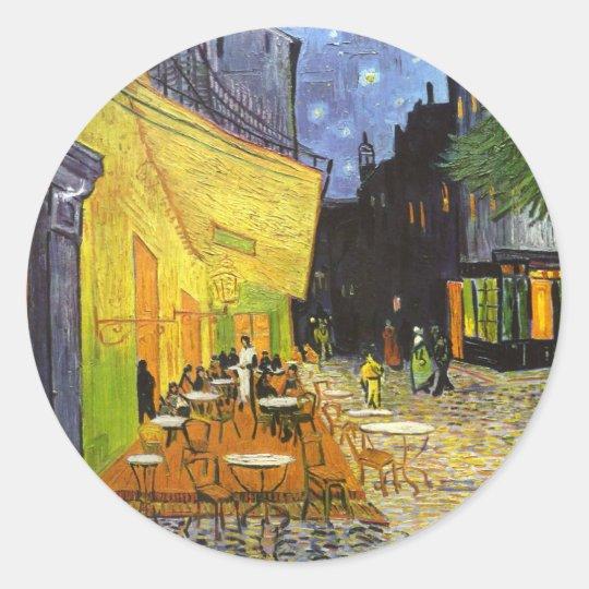 Van Gogh Cafe Terrace at Night Classic Round Sticker