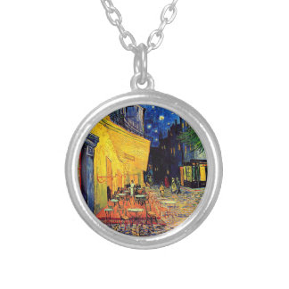Van Gogh - Cafe Terrace At Night Round Pendant Necklace