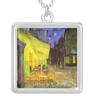 Van Gogh: Cafe Terrace at Night Square Pendant Necklace