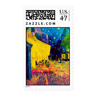 Van Gogh - Cafe Terrace At Night Pop Art Postage Stamp