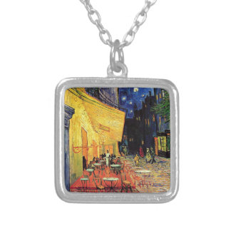 Van Gogh Cafe Terrace At Night Square Pendant Necklace