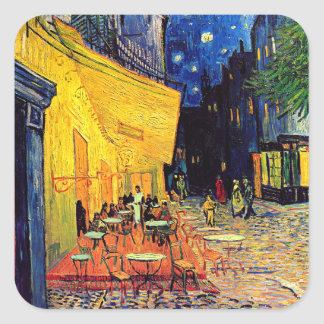 Van Gogh Cafe Terrace At Night Square Stickers