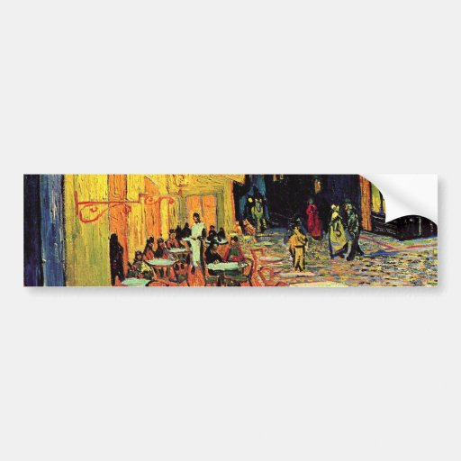 Van Gogh; Cafe Terrace at Night, Vintage Fine Art Bumper Stickers