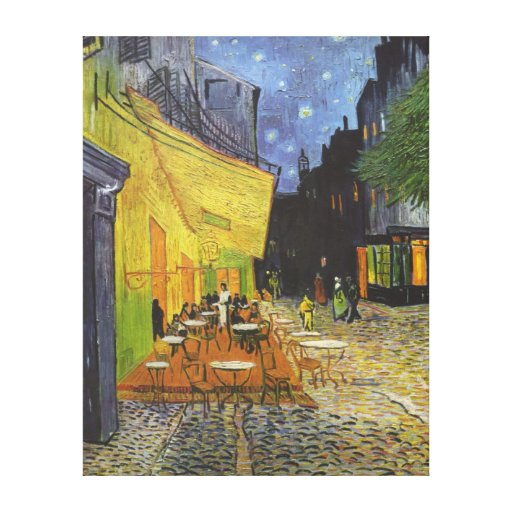 Van Gogh; Cafe Terrace at Night, Vintage Fine Art Canvas Print