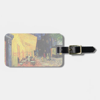 Van Gogh, Cafe Terrace at Night, Vintage Fine Art Tag For Luggage