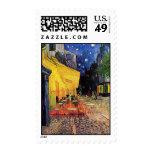 Van Gogh, Cafe Terrace at Night, Vintage Fine Art Postage Stamp