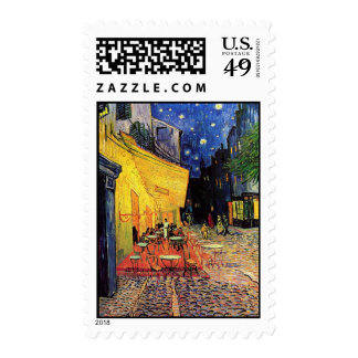 Van Gogh Cafe Terrace at Night Vintage Fine Art Postage Stamp