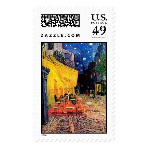 Van Gogh Cafe Terrace (F467) Vintage Fine Art Postage Stamps
