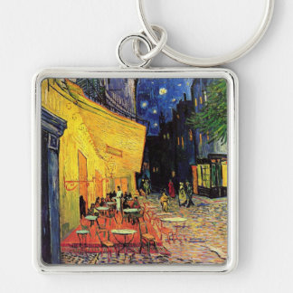 Van Gogh Cafe Terrace on Place du Forum, Fine Art Silver-Colored Square Keychain