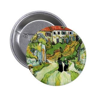 Van Gogh - calle y pasos del pueblo en Auvers Pin Redondo 5 Cm