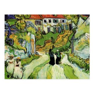 Van Gogh - calle y pasos del pueblo en Auvers Postales