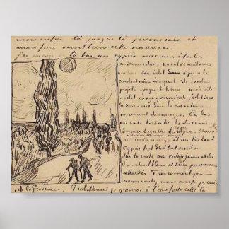 Van Gogh - camino con caminar de los hombres Poster