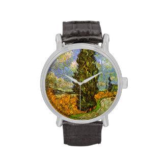 Van Gogh: Camino con Cypress y la estrella Relojes De Mano