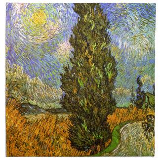 Van Gogh: Camino con Cypress y la estrella Servilletas Imprimidas
