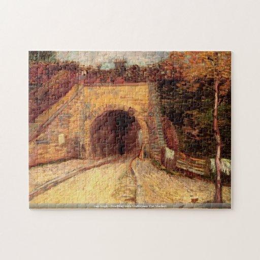 van Gogh-Camino con el paso inferior el Puzzle Con Fotos