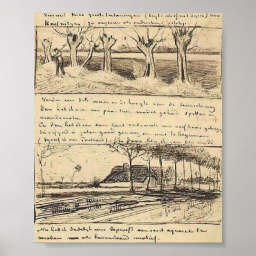Van Gogh - camino con los sauces del árbol descopa Impresiones