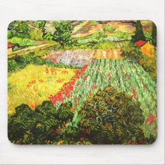 Van Gogh Campo con las amapolas Tapetes De Raton