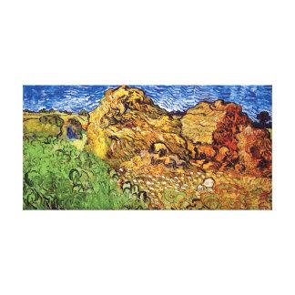 Van Gogh - campo con las pilas del trigo Impresiones En Lienzo Estiradas