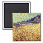 Van Gogh - campo de trigo con el segador Imanes Para Frigoríficos