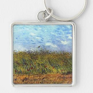 Van Gogh: Campo de trigo con las amapolas y la alo Llavero Cuadrado Plateado