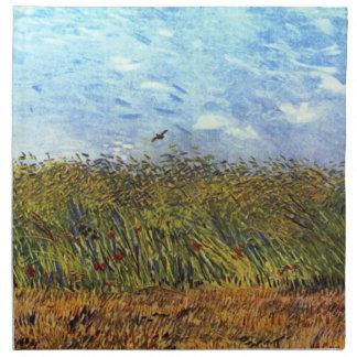 Van Gogh: Campo de trigo con las amapolas y la alo Servilleta De Papel